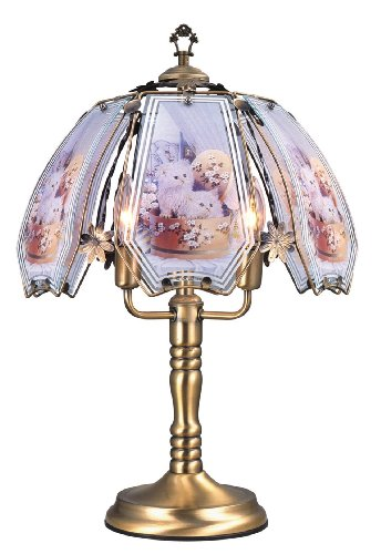 ORE International K302 Glass Cats Scene Touch Lamp, Brushed Gold