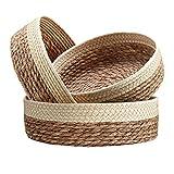 Handmade Woven Wicker Basket for Organizing and Storage, Woven Round Shelf Basket Set, Decorative Storage Baskets Bathroom, Nesting Baskets Perfect Organizing for Home, Set of 3