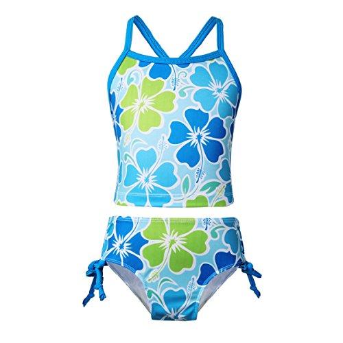 iEFiEL Mädchen Badeanzug Hawaii Blumen Drucken Kleid Badeanzug Bikini Tankini Sets Gr. 98 104 116 128 140 152 164 Blau 152
