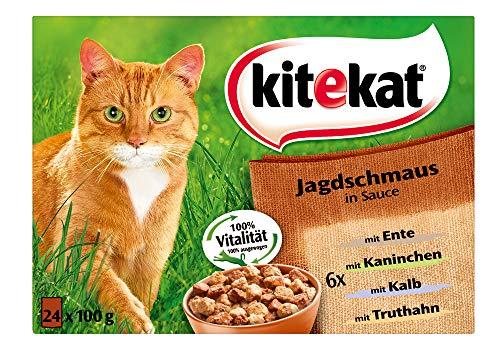Kitekat Katzenfutter Jagdschmaus in Sauce, 24 Stück (24 x 100g)