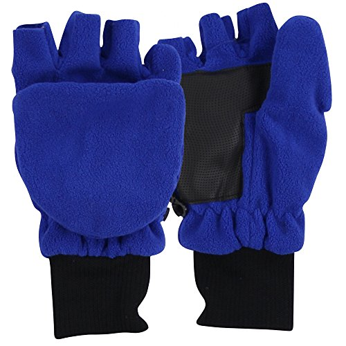 Boy's Sport Fleece Fingerless Gloves / Convertible Mittens-Royal (Size 8 to 16)