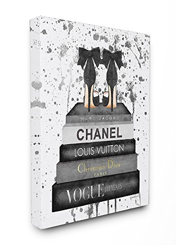 Stupell Industries Glam Fashion Book Stack Grey Bow Pump Heels Ink Stretched Canvas Wall