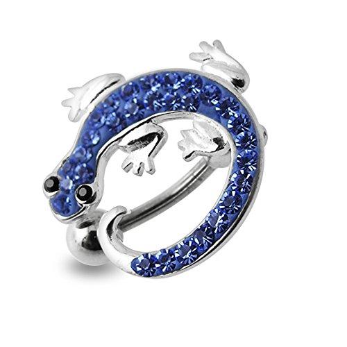 Lavendel Crystal Stein Bunte Lizard Design Sterling Silber Bauch Szenekneipen Piercing