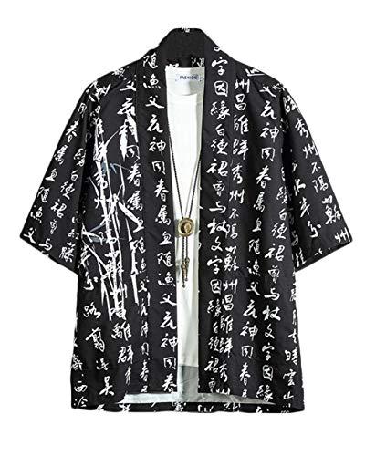 GUOCU Hombres Camisa Japonés Kimono Cardigan Yukata Estilo con Vintage Impresos Holgado Casual Chaqueta Color3 5XL