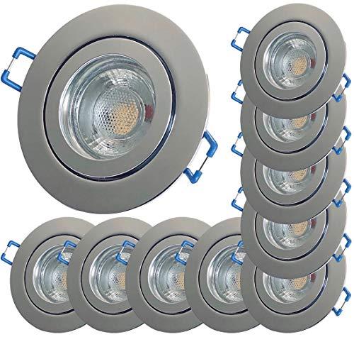 LED Bad Einbauleuchten 12V inkl. 10 x 3W LED LM Farbe Chrom IP44 LED Einbaustrahler Neptun Rund 3000K Deckenspots