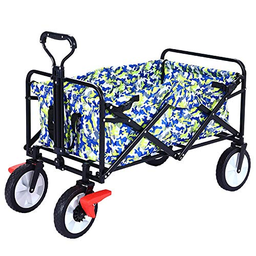 Chariot pliant de chariot de camping de voiture de tissu de toile de chariot de jardin - chariot multifonctionnel portatif de voiture de capacité de roulement,Blue