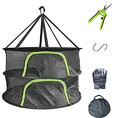YOUSHENGER Herb Drying Rack 2Layer 2ft Black Mesh Hanging Drying net 1 Pack Plant Drying net with Green Zipper and Garden Gloves for hydroponic Plants and Bud