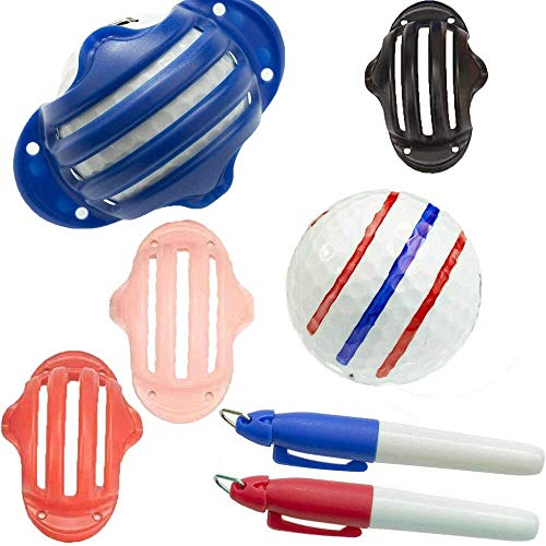N\A Golfball Markierer 3 Linien,Golfball-Marker Liner Golfballmarkierer,Golf Ball Liner Marker,Liner Kugelmarkierung Clips für Grafische Markierungen Linie (4 Farben + 2 Stifte)