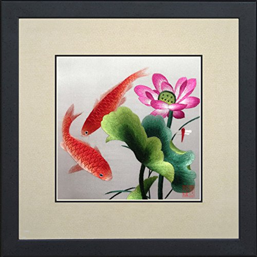 King Silk Art 100% Handmade Embroidery Framed Two Japanese Red Koi & Pink Lotus Water Lily Oriental Wall Hanging Art Asian Decoration Tapestry Artwork Picture Gifts 32010WFB1