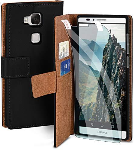 MoEx® Premium 360 Grad Schutz Set passend für Huawei Mate 7 | Solider Handy Komplett-Schutz [Hülle + Folie] Beidseitige Abdeckung mit Handytasche & Schutzfolie, Schwarz