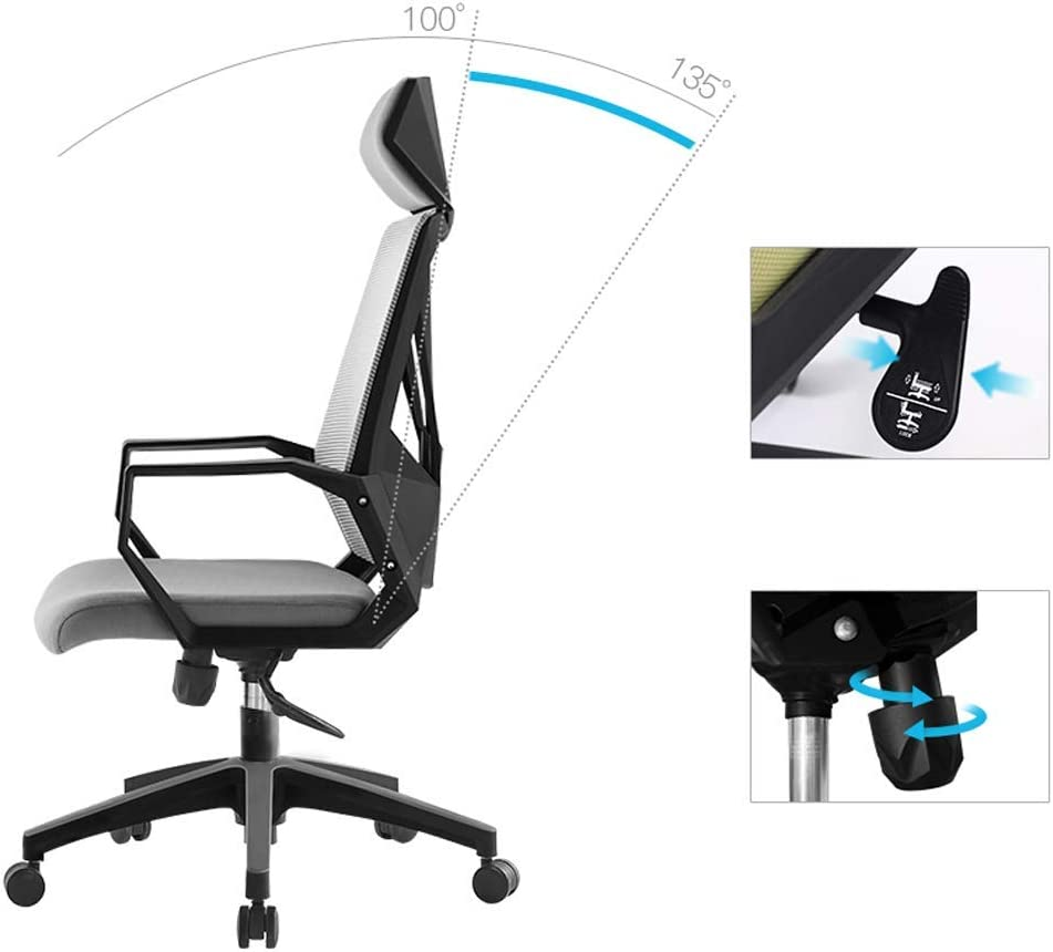 QWEA Chaise de Jeu pour Adultes Chaise d'ordinateur Chaise de Bureau de Massage Ergonomique avec Coussin de tête Chaise pivotante Chaise de Bureau, Hauteur réglable, Gris Green