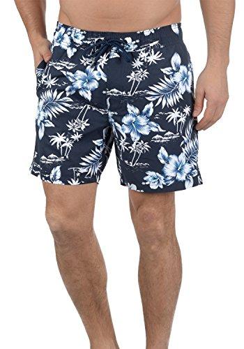 Blend Florance Herren Badehose Badeshorts Schwimmshorts Mit Kordel Und Blumenmuster, Größe:M, Farbe:Navy (70230)