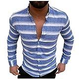 Binggong Camisa de manga larga para hombre, diseño de rayas, con solapa, manga larga, corte regular, camisa de trabajo, ropa deportiva básica, camisa de playa