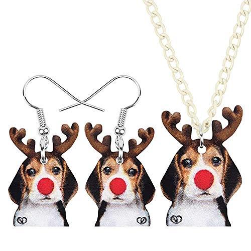 Xx101 Joyería de acrílico de Navidad del Perro Beagle astas joyería de los Pendientes del Collar de la Gota cuelga el Animal for Las Mujeres niñas Adolescentes Regalo Nixx0 (Color : A)
