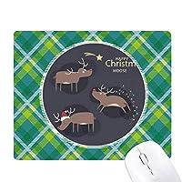 クリスマスのトナカイの漫画のパターン 緑の格子のピクセルゴムのマウスパッド