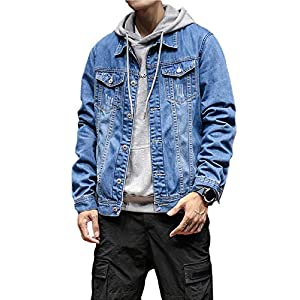 Casual Washed Denim Jean Trucker Motorcycle Jackets for Men with Pockets