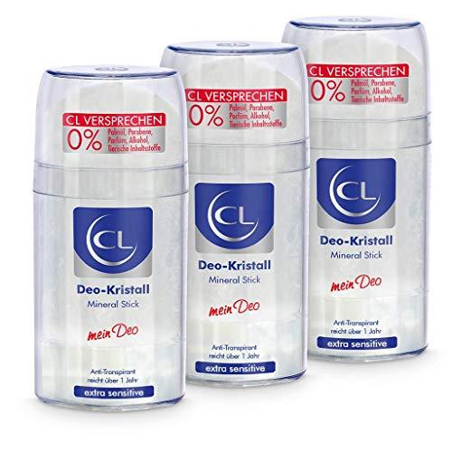 CL Desodorante piedra de alumbre natural antitranspirante 3x 100 g - Ofrece una protección de 24 horas - Especial para pieles sensibles - Cristal de aluminio para hombres y mujeres