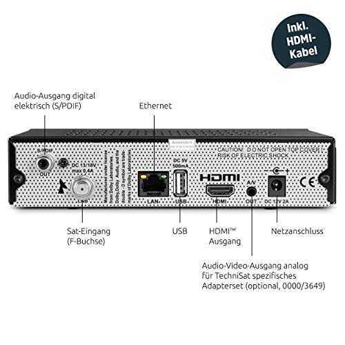 TechniSat DIGIT S3 HD - hochwertiger digital HD Sat Receiver (HDTV, DVB-S, DVB-S2, HDMI, USB, vorinstallierte Programmlisten, Unicable tauglich) schwarz