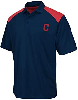 VF Cleveland Indians MLB Majestic Mens Shoulder Polo Golf Shirt Navy Blue Size 6XL
