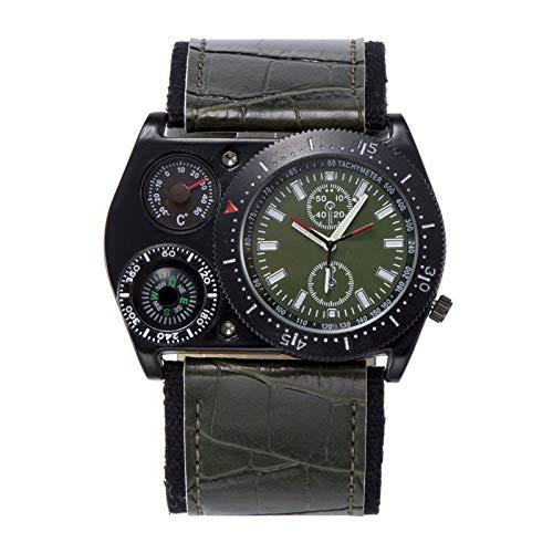 Relojes para Hombre Venta termómetro, brújula, Tiempo Dual, Reloj Militar de Cuarzo, Cuatro Opciones de Color, Material de Correa de PU, Relojes, adecuados para Regalos de cumpleaños,Green