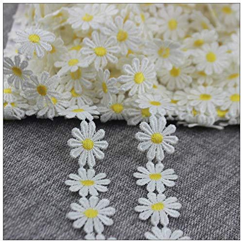IDONGCAI Adornos de encaje de margaritas amarillas para decoración de encaje y adornos para costura y proyectos de arte