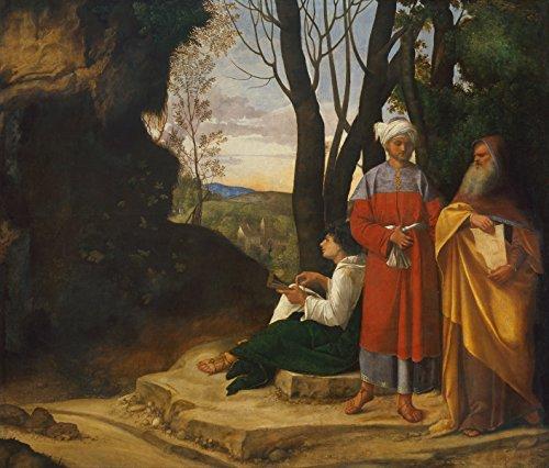 Giorgione - Three Philosophers, Size 24x28 inch, Canvas Art Print Wall décor