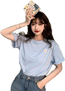 Fashring Women's Short Sleeve Round Neck Floral Print Slim Fit Summer Tee Top Blouse
