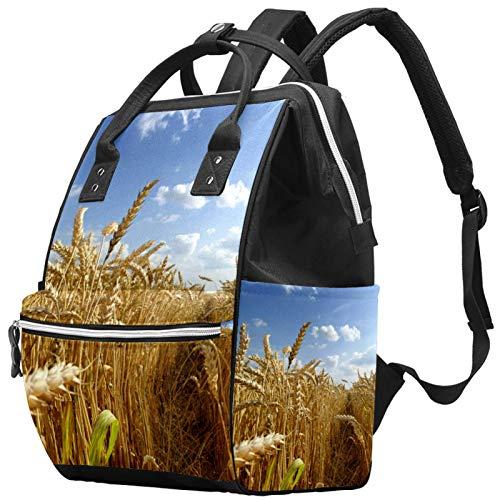 Leisure Travel School Autumn Fields Wheat Ear Backpack Multifunction Diaper Bag with Adjustable Strap for Men Women Girls Boys