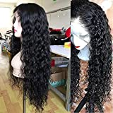 ANDRIA Curly Hair Lace Front Wigs Natural Curly Synthetic Long Wigs Heat Resistant Fiber Hair for Black Women Wet and Wavy Lace Wigs with Baby Hair 24 Inch Curly Black Color Hair Wigs