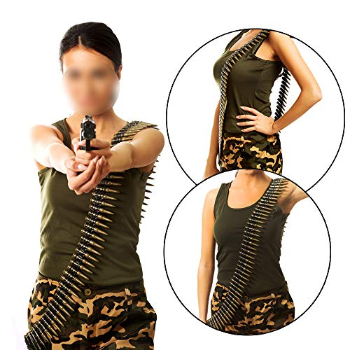X Hot Popcorn 60 Inches Army Bullet Belt Deluxe Bandolier Belt Costume Accessory Pretend Play
