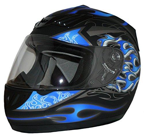 Protectwear Casque de moto intégral, noir mat / flammes bleues, H-510-BL, Taille: M