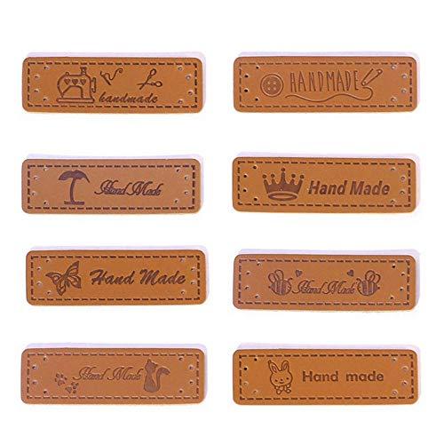 Anyasen 40 Piezas Etiquetas Hecho a mano de Cuero 8 Estilos Etiquetas para ropa en Relieve Etiqueta con Agujero para Costura Manualidad, para Bolsos Sombrero Jeans