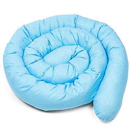 paracolpi lettino culla lettino 4 lati pali neonato bimba salsicciotto rullo ragazzo ragazza grigio - bianco 150 cm (Blu con pois bianchi, 150 cm)