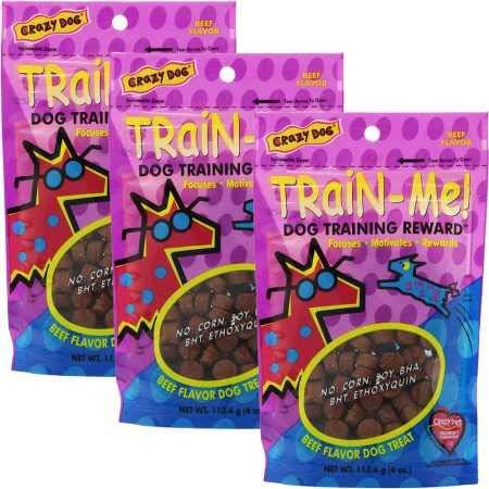 3 PACK  ( 4 oz each)  Crazy Dog Train-Me! Training Treats Beef Flavor (12 oz)