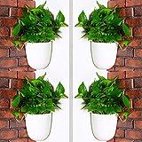 *Sungmor - Jardinera Penjant de Cantonada d'angle de 90 ° - Paquet de 4 Peces i Blanc - Jardineres Verticals de reg automàtic muntades en la Paret - Tests Triangulars Elegants