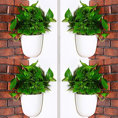 Sungmor Jardinière Suspendue Murale d'angle à 90 ° - Ensemble de 4 PC & Blanc - Jardinières Verticales à arrosage Automatique - Pots de Fleurs élégants en Triangle - Pots à combinés horizontaux