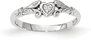 Lex & Lu 14k White Gold Textured Mini Heart Baby Ring