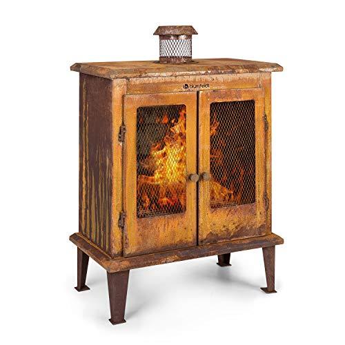 blumfeldt Flame Locker Chimenea de Exteriores - Horno de terraza, Rústico: Aspecto Oxidado, Brasero de 58 x30 cm, Depósito de Cenizas, FireView, Estructura de Acero sólida, Marrón Oxidado
