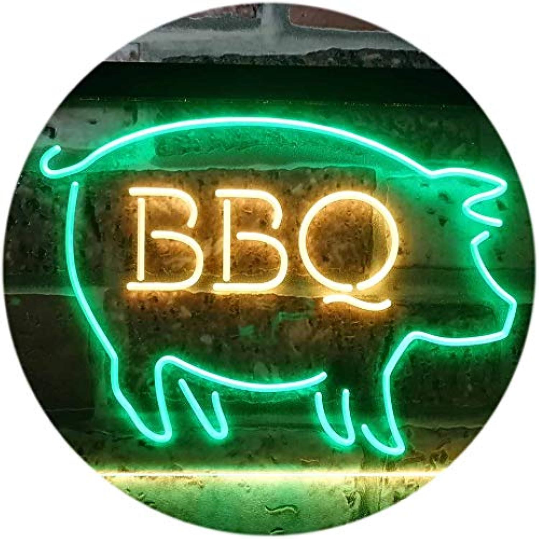ADVPRO BBQ Pig Restaurant Open Display Dual Farbe LED Barlicht Neonlicht Lichtwerbung Neon Sign Grün & Gelb 16  x 12  st6s43-i3161-gy