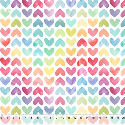 Spring Designs Milliken Fabric 60' Wide Sold by The Yard (Water Color Hearts)
