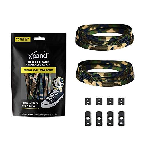 Xpand® Schnürsenkel ohne binden - Flache elastische Schnürsenkel mit einstellbarer Spannung - in alle Schuhe einfach nur hineinschlüpfen (GRÜN CAMO)