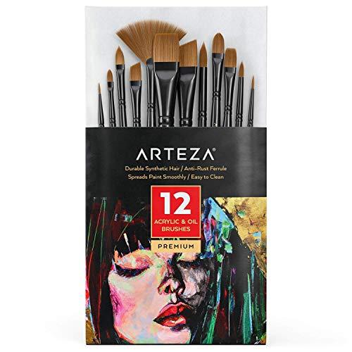 Arteza Acryl und Ölfarben Pinsel, 12er-Set, Premium Synthetische Pinsel für Acrylfarben mit Messingzwingen und Holzbirkengriffen, Pinselset für Anfänger und Experten
