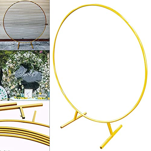 zhicheng shop Round Ring Wedding Backdrop Stand Metal Backdrop Decor Floral Circle Stand Wedding Arch Garden Arch for Anniversary Ceremony Party, Golden, 1.5m