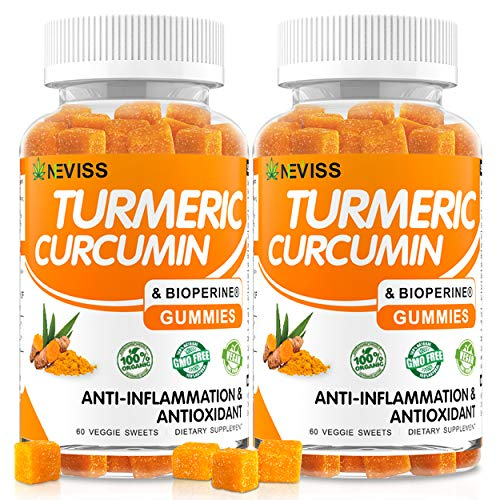 (2 Pack) Turmeric Curcumin Gummies with Bioperine - Organic Anti-inflammatory Supplement, Supports Joint Pain Relief - Vegan Turmeric Gummies for Adults with 95% Curcuminoids - Non-GMO