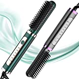 DESIPESI Ionic Hair Straightener Brush - Dry and Wet Straightening Brush with 20 Seconds Quick Heating &5 Heating Levels Keeps Hair for Frizz-Free Silky Hair, Anti-Scald & Auto-Off Safe (Black)