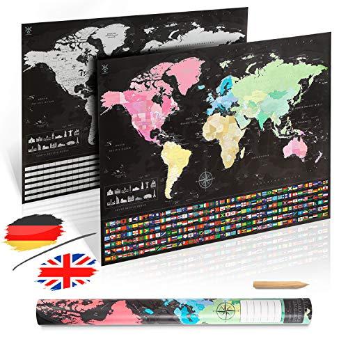 uranuspro - Scratch Off World Map/Detaillierte Weltkarte zum Rubbeln im XXL Poster Format 84 x 60 Rubbel Weltkarte (Englisch)