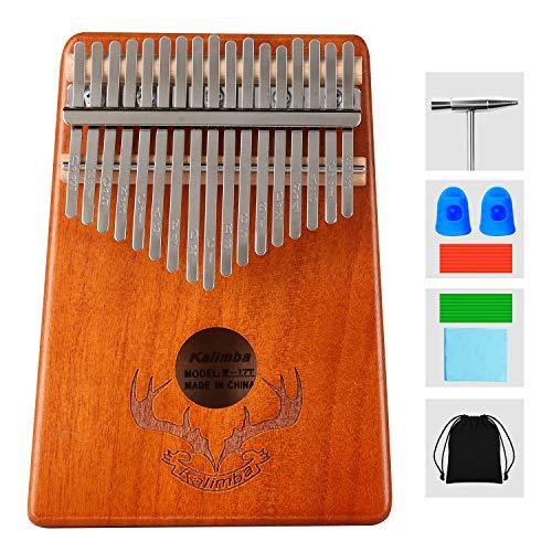 Kalimba Piano 17 Clés à pouce Professionnel Instrument de Musique avec Accessoires,Kalimba instrument en Bois de haute qualité avec tuning hammer pour enfants adultes débutants amateurs