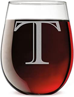 Monogram Etched 17oz Stemless Wine Glass (Letter T)