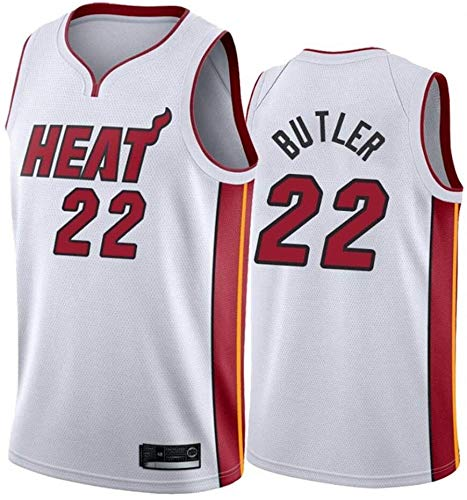 Donne Jersey AMJUNM Uomo - NBA Miami Heat 22# Butler Maglie Traspirante Ricamati Pallacanestro Swingman Jersey (Color : White, Size : M)