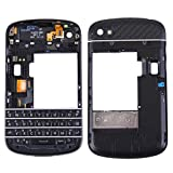 JIJIAO Repair Replacement Parts 3 in 1 for BlackBerry Q10 (Keyboard + Middle Frame Bezel + Back Plate Housing Camera Lens Panel) Full Assembly Housing Cover Parts